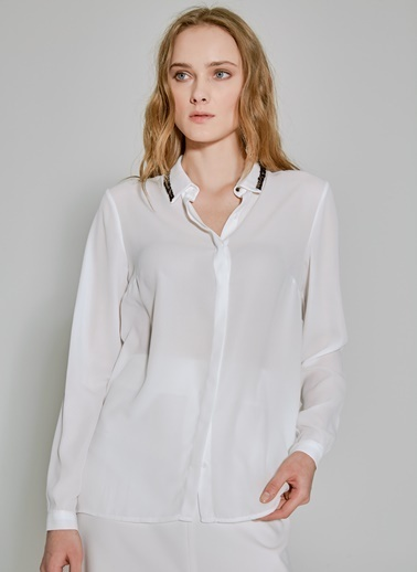 People By Fabrika Yaka Detaylı Gömlek Beyaz